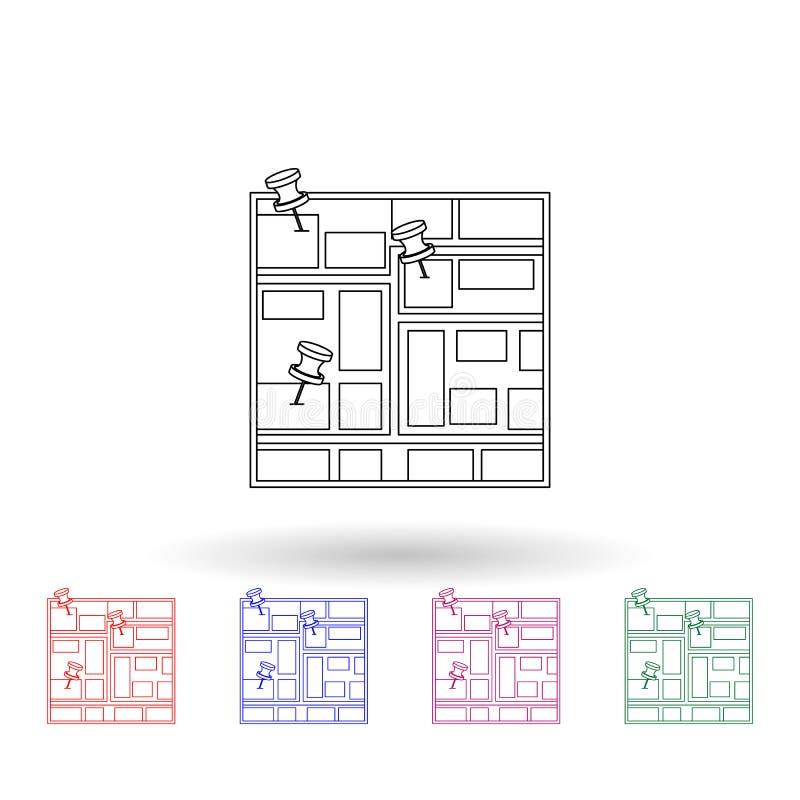 Stifte auf der Karte mehrfarbiges Symbol Einfache dünne Linie, Konturvektor Vektor Navigation Icons für ui und ux, Website oder m stock abbildung