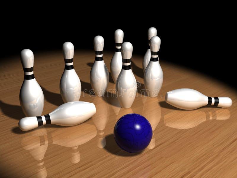 Stifte und Bowlingspielkugel lizenzfreie abbildung