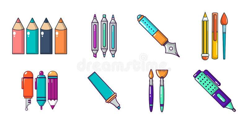 Stiftikonensatz, Karikaturart vektor abbildung