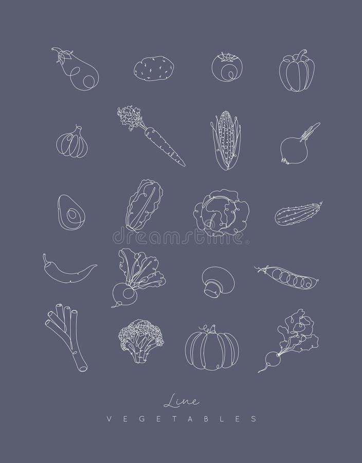 Stiftlinie Gemüseikonen grau stock abbildung