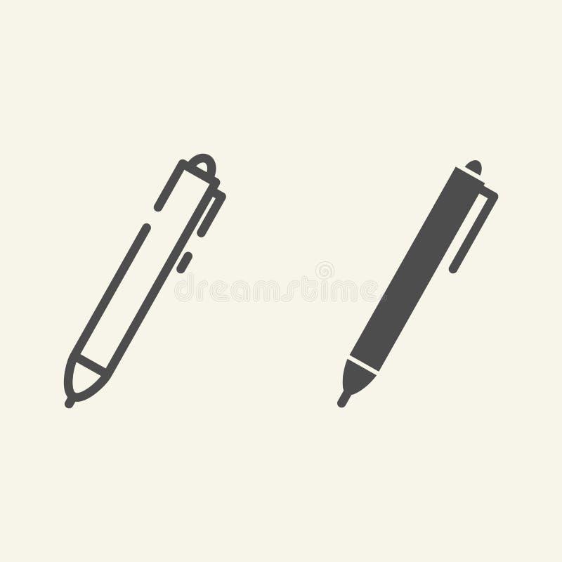Stiftlinie und Glyphikone Tintenvektorillustration lokalisiert auf Weiß Schreiben Sie den Entwurfsartentwurf, entworfen für Netz  stock abbildung