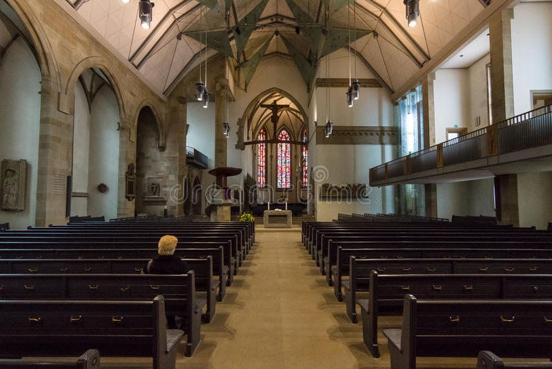 Stiftskirche牧师会主持的教堂的内部 免版税图库摄影