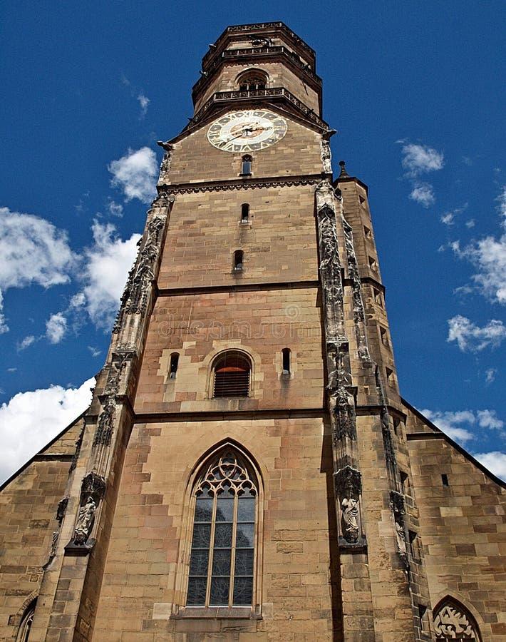 Stiftskirche, protestierende Stadtkirche von Stuttgart stockfotografie