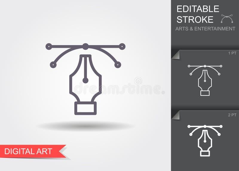 Stiftwerkzeug-Cursor Vektorcomputer-animation Linie Ikone mit Schatten und editable Anschlag vektor abbildung