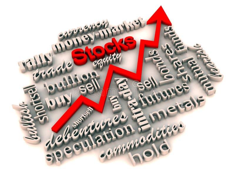 stigande materiel för investeringmarknad stock illustrationer