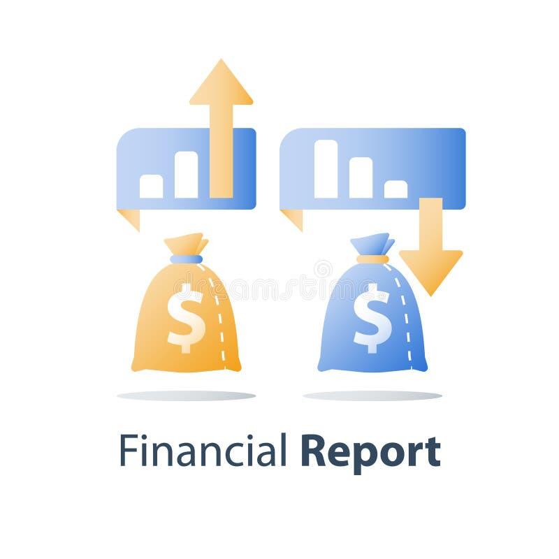 Stigande ned diagram, finansiell skuld, investeringsfondförlust, oväntad marknadsdroppe, inkomstminskning, dålig kapacitet för ti stock illustrationer