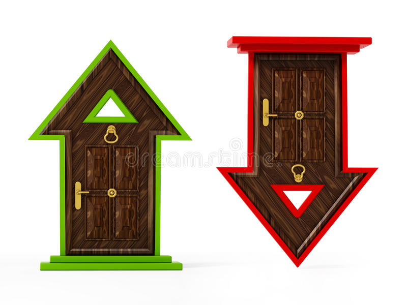 Stigande och fallande pil formade stängda dörrar stock illustrationer