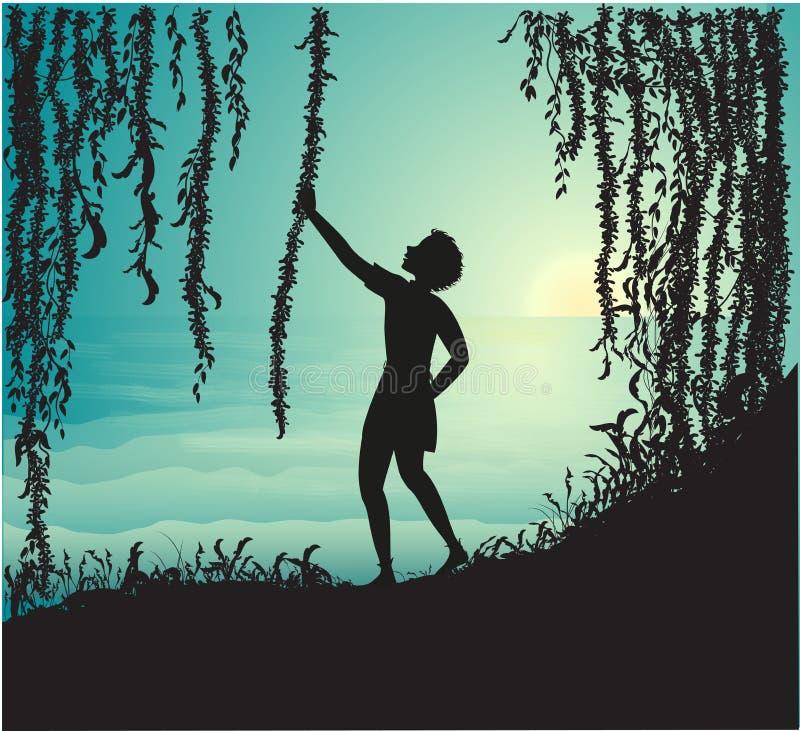 Stiger den hållande liankonturn för pojken i grottan och blicken på den härliga den havsmorgonen och solen, Peter Pan, vektor illustrationer