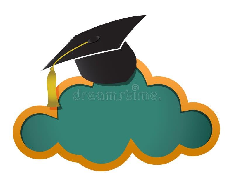 Stiger ombord det on-line molnet för utbildning royaltyfri illustrationer