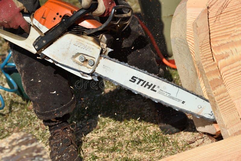 Stihl锯在考纳斯 免版税库存照片