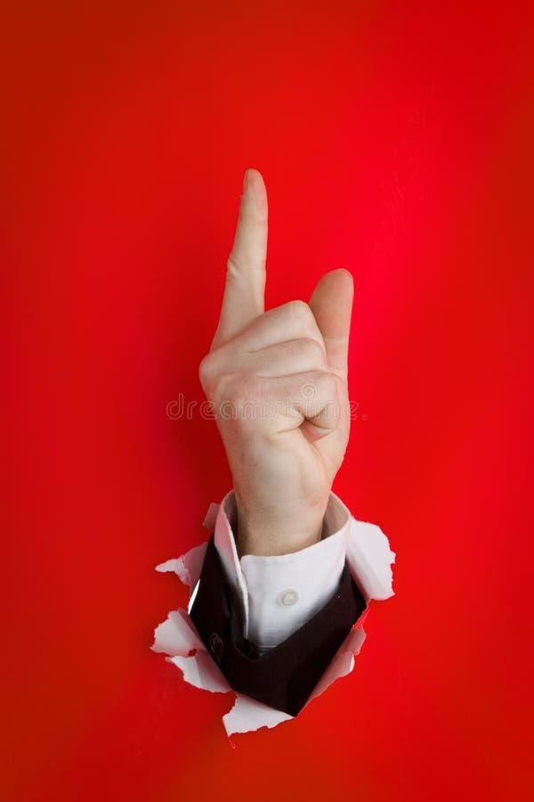 Stijgende het richten vinger stock foto's