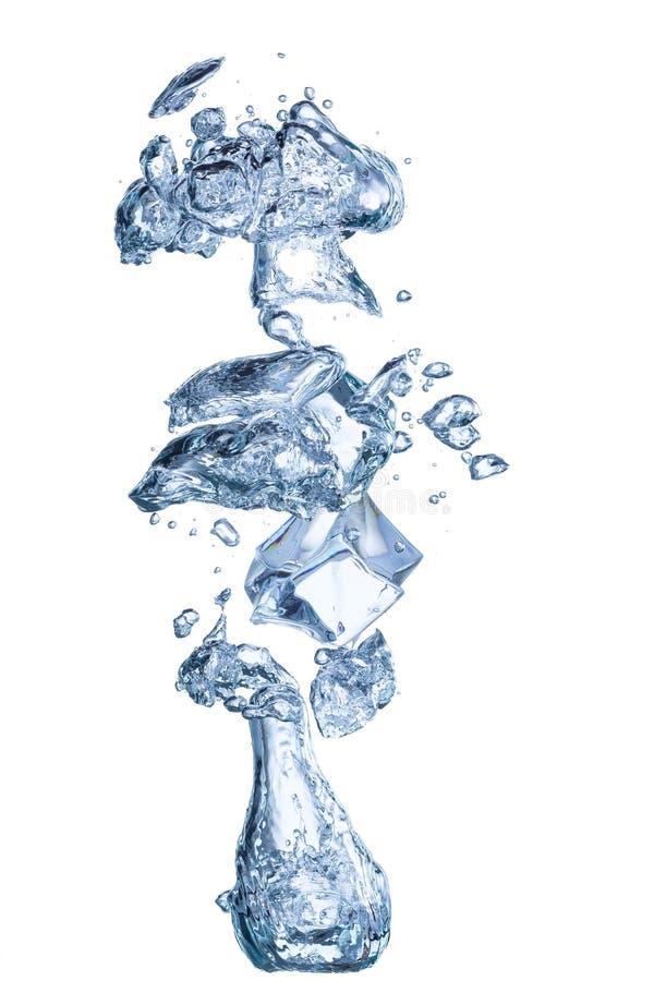 Stijgende onderwaterbellen met geïsoleerde icecube royalty-vrije stock foto's