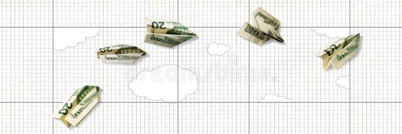 Stijging en val van de dollar Document de vliegtuigen van 20 dollarrekening vliegen omhoog en vallen neer tegen een achtergrond v royalty-vrije illustratie
