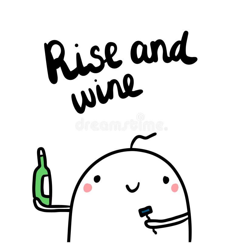 Stijging en wijn leuke hand getrokken illustratie met de fles van de heemstholding stock illustratie