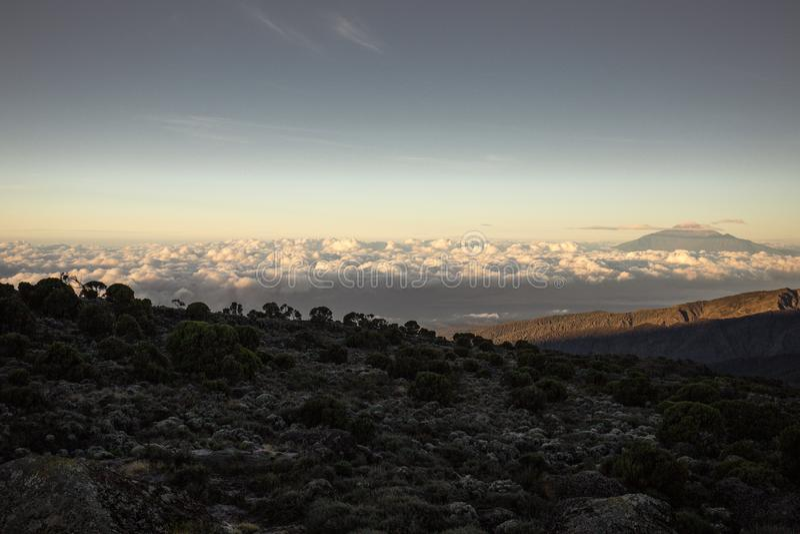Stijging op MT Kilimanjaro Tanzania royalty-vrije stock afbeelding