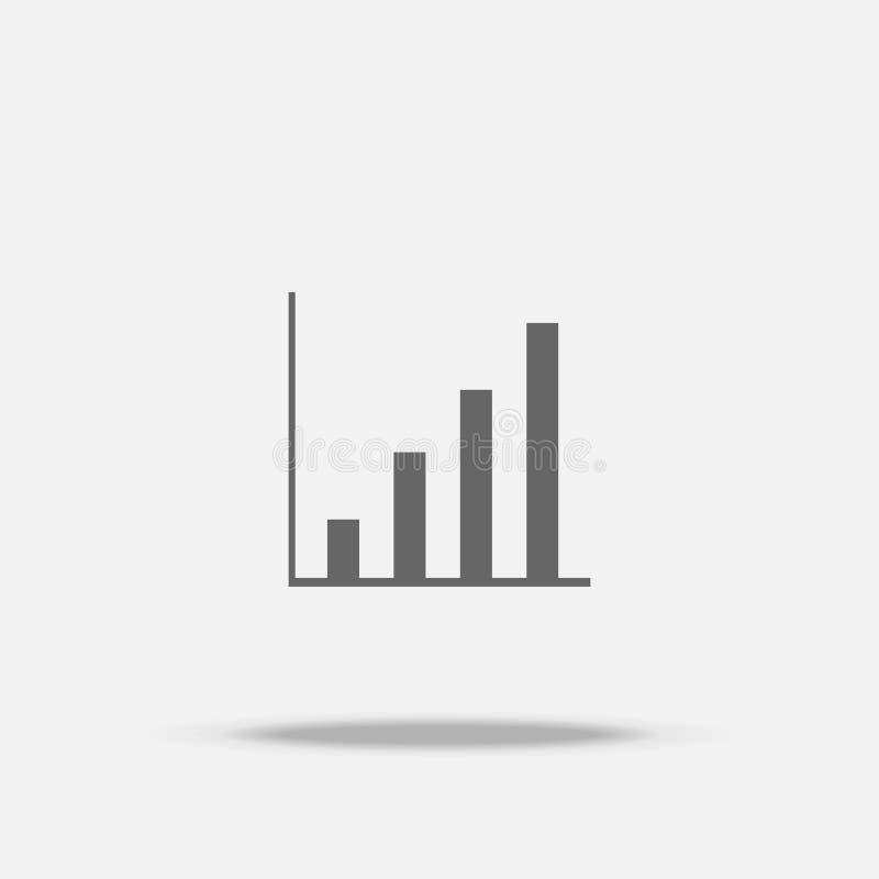 Stijging op vectorpictogram van het Grafiek het Vlakke ontwerp met schaduw vector illustratie