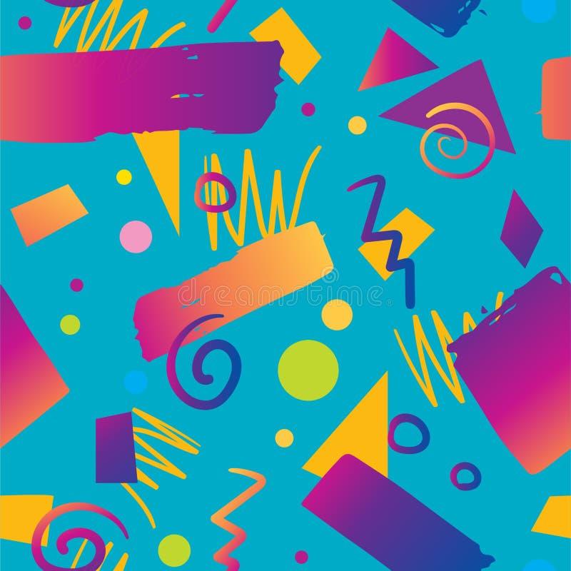 Stijl van de van het achtergrond kleuren de naadloze patroon jaren '90gradiënt royalty-vrije illustratie