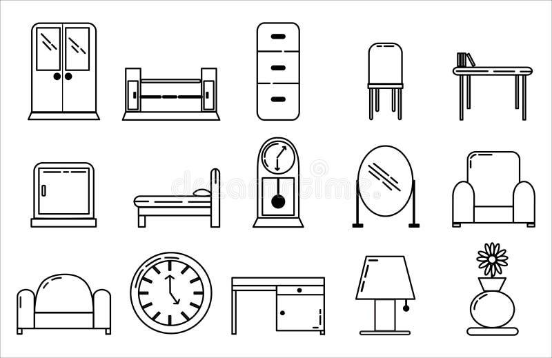 Stijl van de het Ontwerplijn van het meubilairpictogram de Vastgestelde stock fotografie