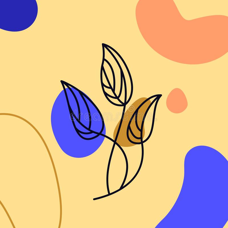 Stijl van de palmblad de Minimale Lijn Ononderbroken de Abstracte Vector Tropische die Palm van de Lijntekening op kleurrijk word royalty-vrije illustratie
