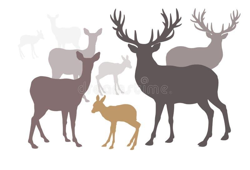 Stijl van het de inzamelingssilhouet van de hertenfamilie de vastgestelde royalty-vrije illustratie