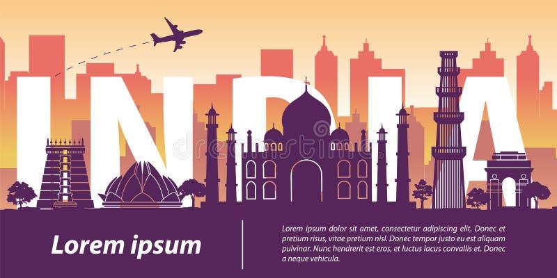 Stijl van het het oriëntatiepuntsilhouet van India de hoogste beroemde, de tekst van India binnen, tra vector illustratie