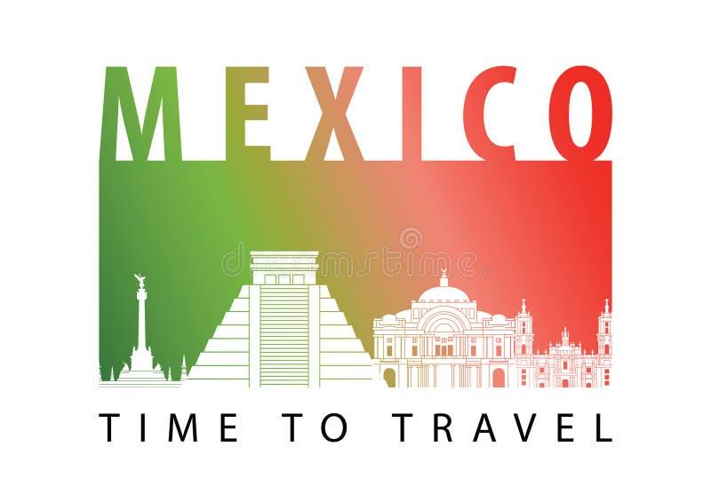 Stijl van het het oriëntatiepuntsilhouet van Mexico de beroemde, vectorillustratie stock illustratie