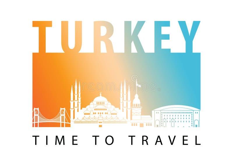 Stijl van het het oriëntatiepuntsilhouet van Turkije de beroemde, vectorillustratie stock illustratie