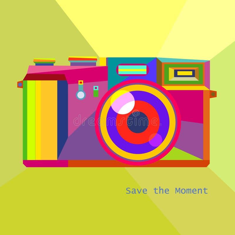 In stijl van Hipster van de fotocamera Retro geometrische  royalty-vrije illustratie