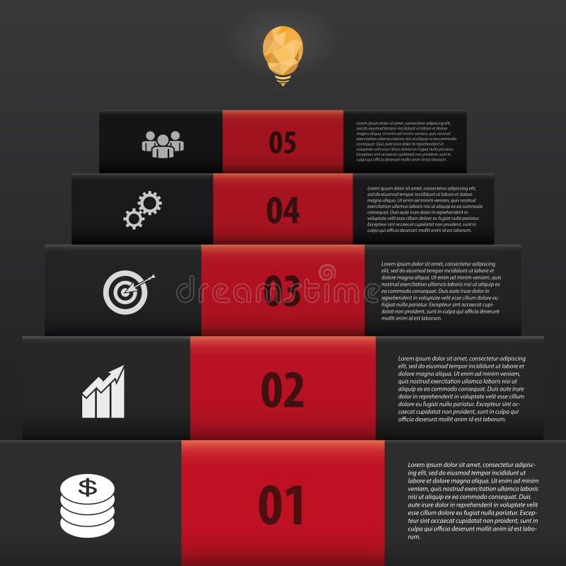 Stijl van Infographic de zwarte treden voer zaken op royalty-vrije illustratie