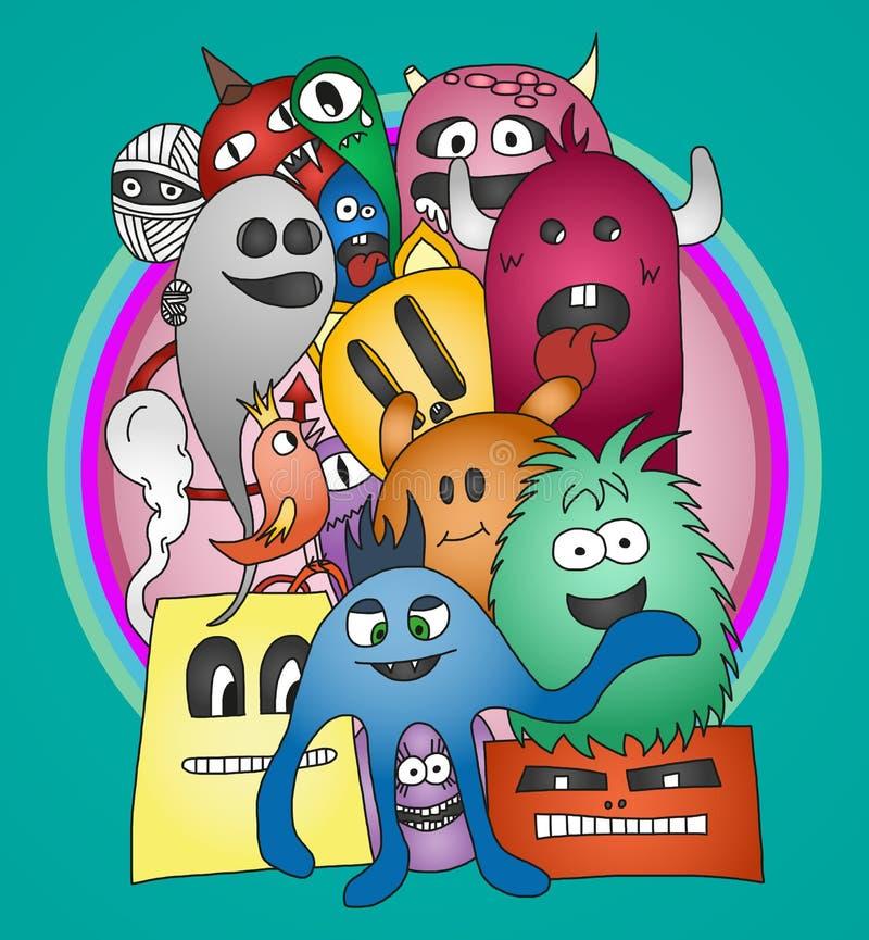 Stiker divertido de los monstruos del garabato stock de ilustración