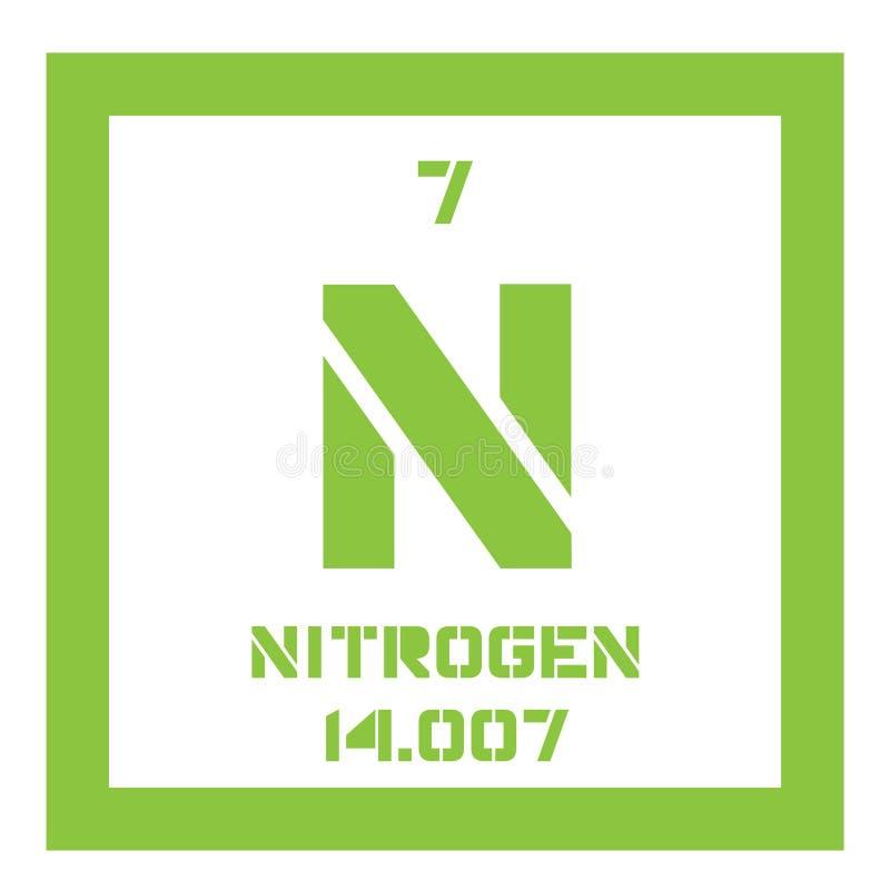 Stikstof chemisch element stock illustratie
