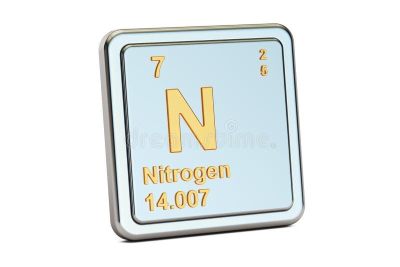 Stikstof N, chemisch elemententeken het 3d teruggeven stock illustratie