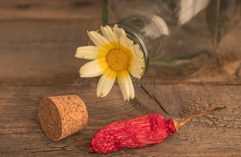 Stil życie butelka i kwiat zdjęcie stock