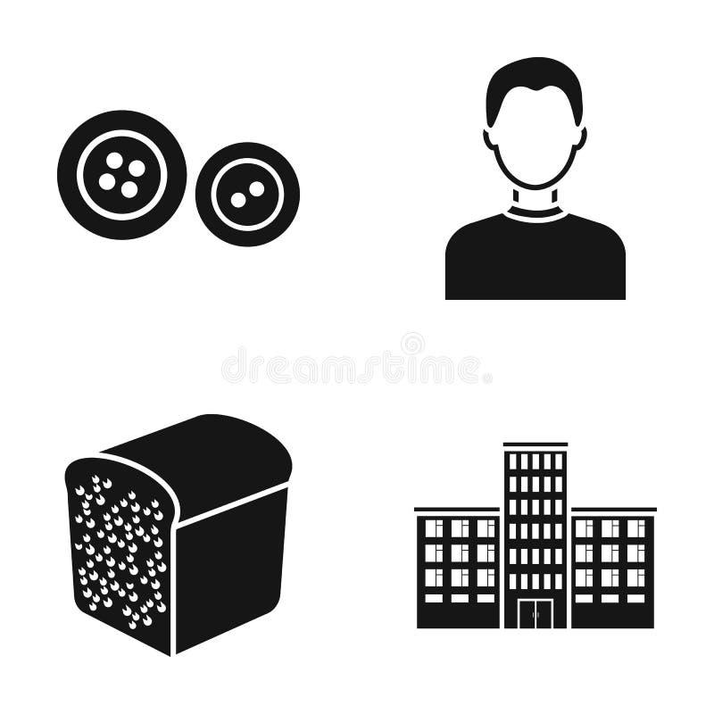 Stil, bageri och eller rengöringsduksymbol i svart stil yrke utbildningssymboler i uppsättningsamling royaltyfri illustrationer
