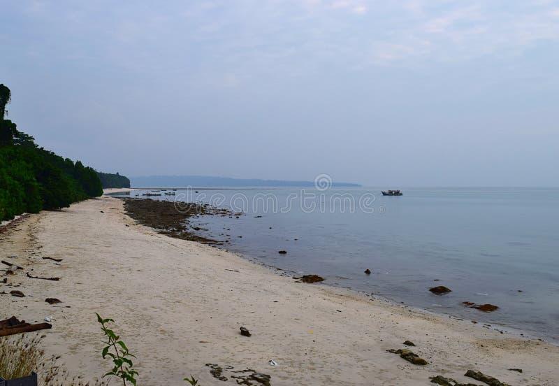 Stil en Serene White Sandy Beach met Rotsen en Groen - Luchtmening - Kalapathar, Havelock, Andaman, India stock afbeelding