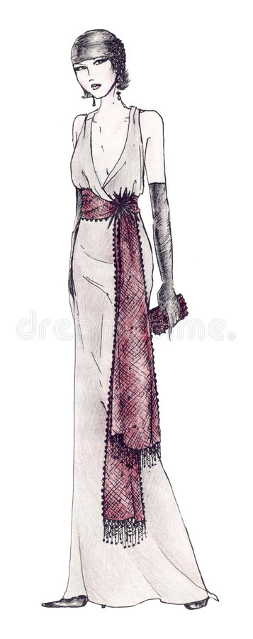 stil för 20 klänning s royaltyfri illustrationer