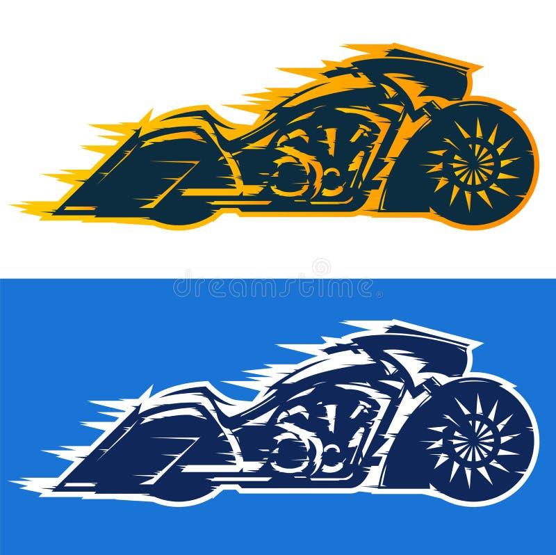 Stil för Bagger för motorcykelvektorillustration vektor illustrationer