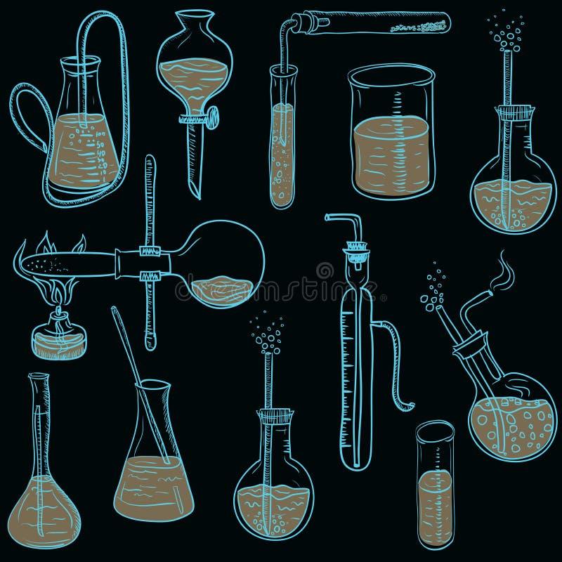 Stil för bakgrund för vektor för vetenskapskemilaboratorium knapphändig royaltyfri illustrationer