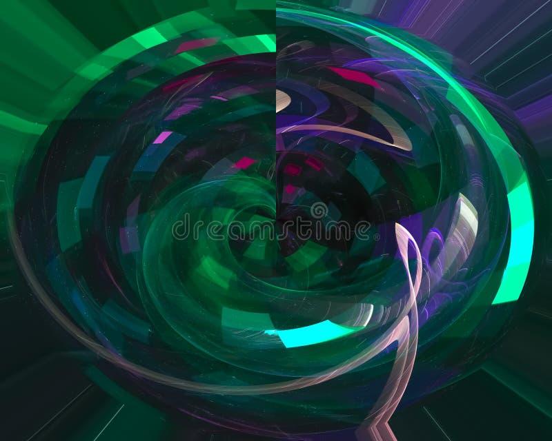 Stil för bakgrunden för prydnaden för abstrakt digital fractalflödeselegans framför futuristisk dynamisk, virvel stock illustrationer