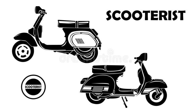 Stil för bildmotorcykelsparkcykel tappning för stil för illustrationlilja röd fotografering för bildbyråer