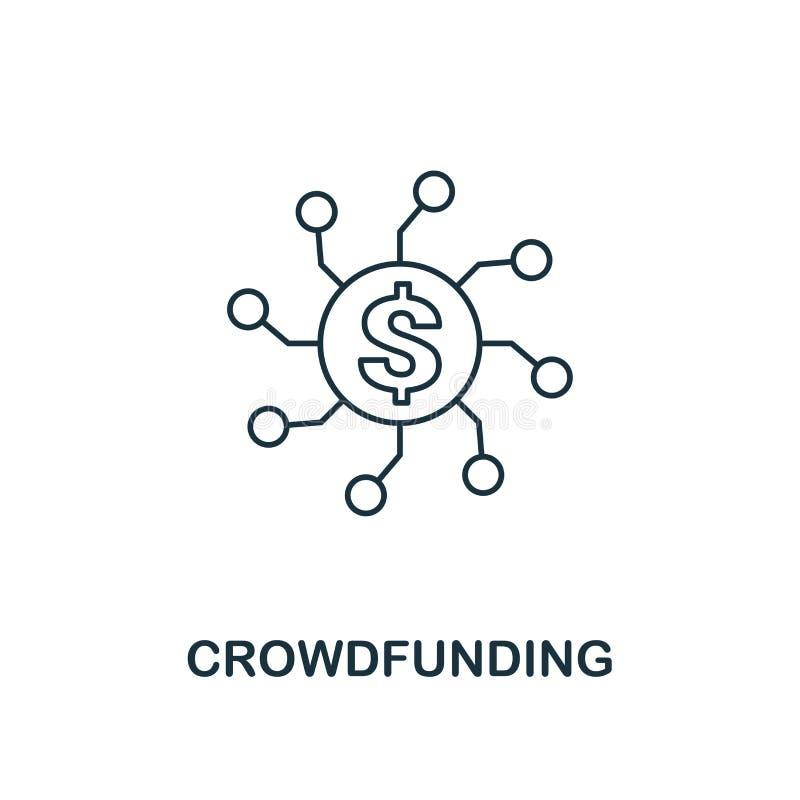 Stil f?r Crowdfunding symbols?versikt Tunn linje design fr?n fintechsymbolssamling Perfekt crowdfunding symbol f?r PIXEL f?r reng vektor illustrationer