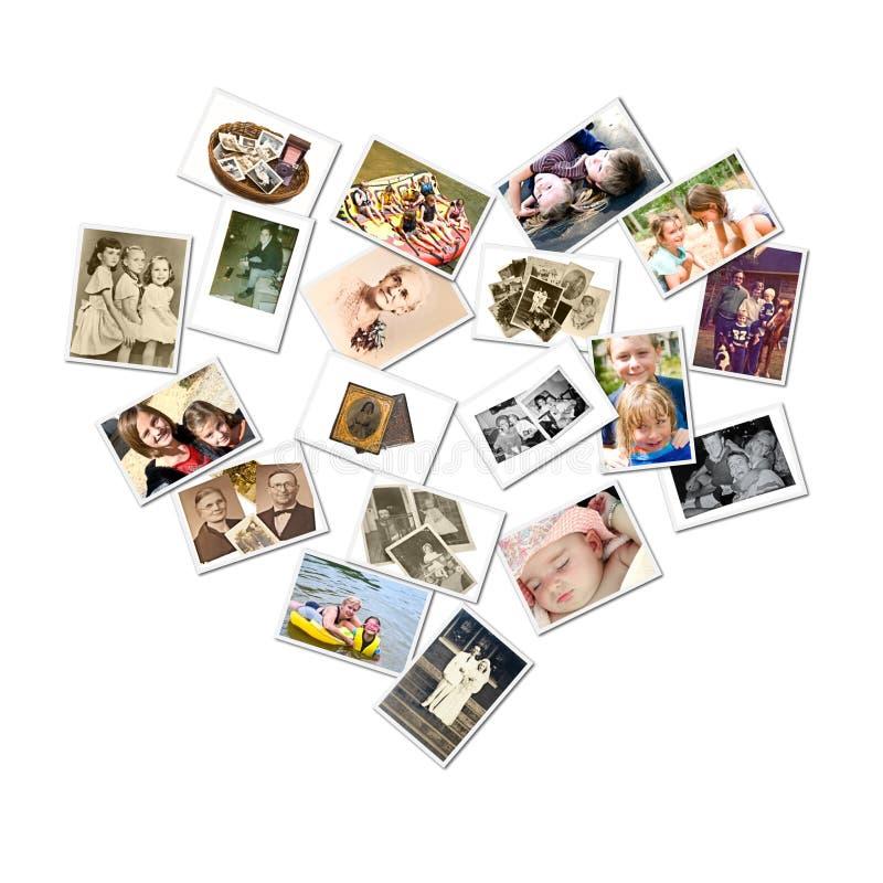 stil för foto för collagefamiljhjärta arkivbild
