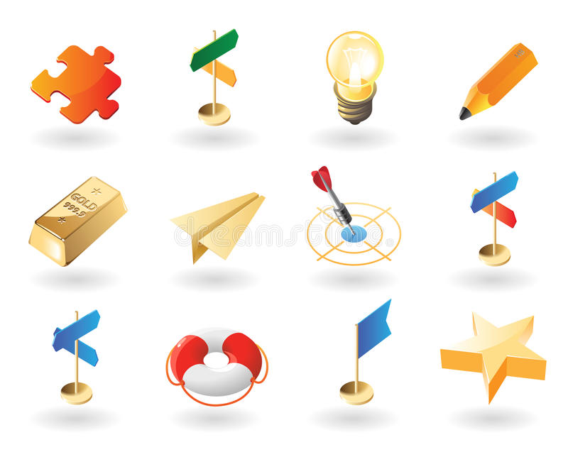 stil för idérika symboler för affär isometrisk royaltyfri illustrationer