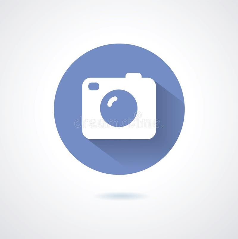 Stil för kamerasymbolslägenhet med lång skugga vektor illustrationer