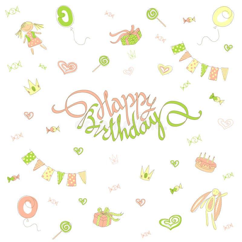 Stil för klotter för lycklig födelsedag för kort stock illustrationer