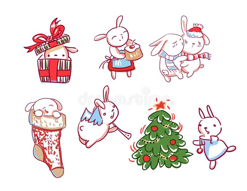 Stil för klotter för kort för jul för tecken för nytt år för kaninuppsättning stock illustrationer