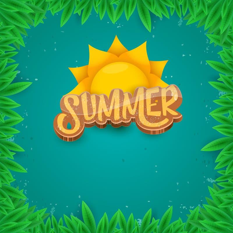 Stil för konst för papper för vektorsommaretikett på grön lövverkbakgrund Affisch för sommarstrandparti, reklamblad eller banerde stock illustrationer