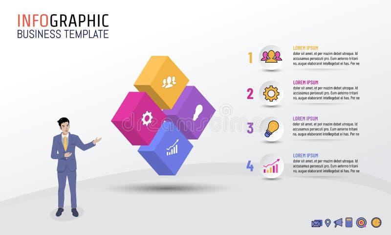 Stil för kvarter för affärsInfographic mall med 4 moment, alternativ, vektorillustration royaltyfri illustrationer