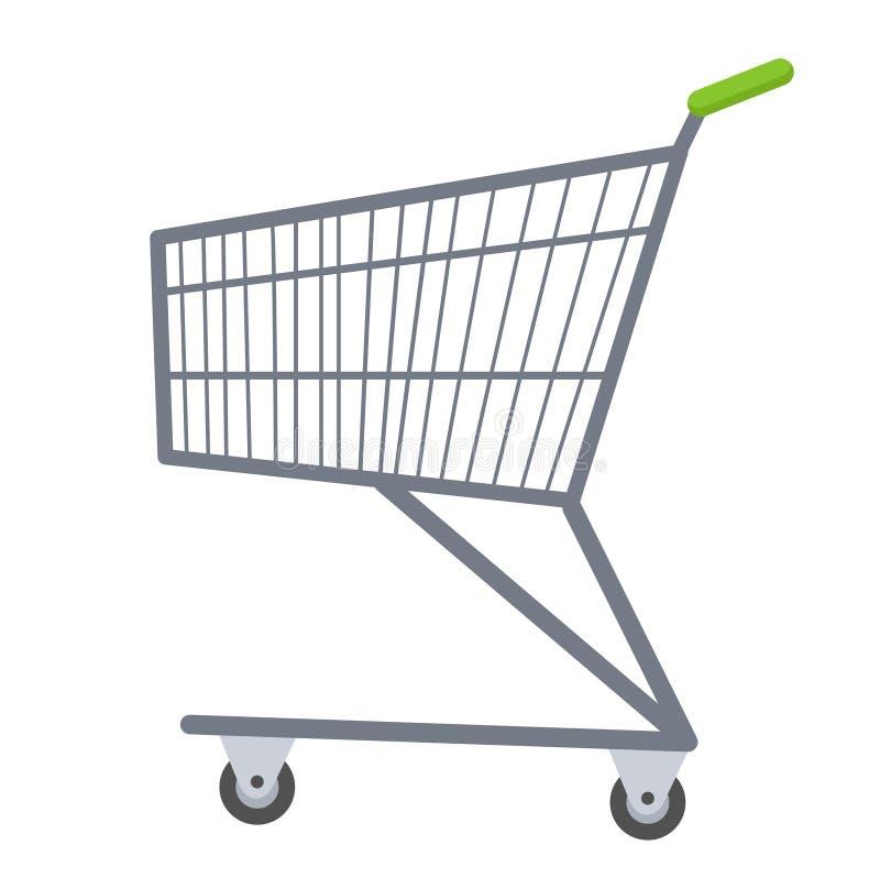 Stil för lägenhet för symbol för shoppingvagnar Belägga med metall spårvagnen, för köp i en supermarket på vit bakgrund symbol royaltyfri illustrationer
