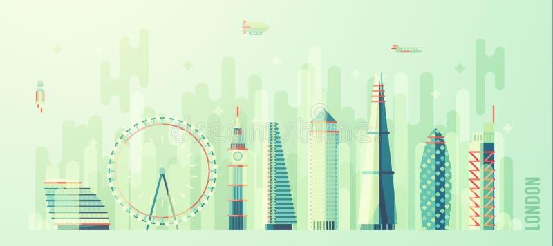 Stil för lägenhet för vektor för London England stadshorisont stock illustrationer
